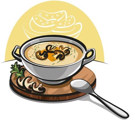 soup spoon: Champignonsoep Stock Illustratie