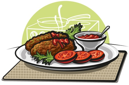 roast dinner: cutlets and tomato sauce Illustration