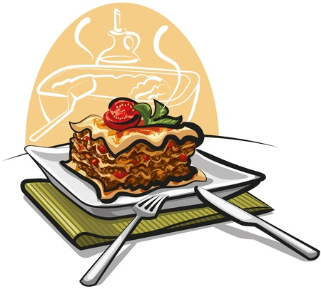 lasagna: baked lasagna Illustration