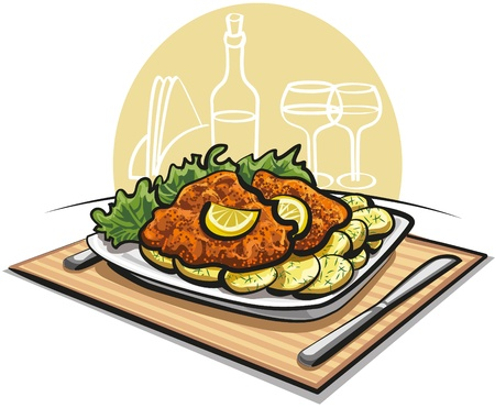 breaded: schnitzel cutlet with boiled potato Illustration