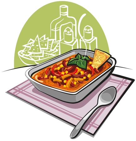 mexican food plate: Chili con carne