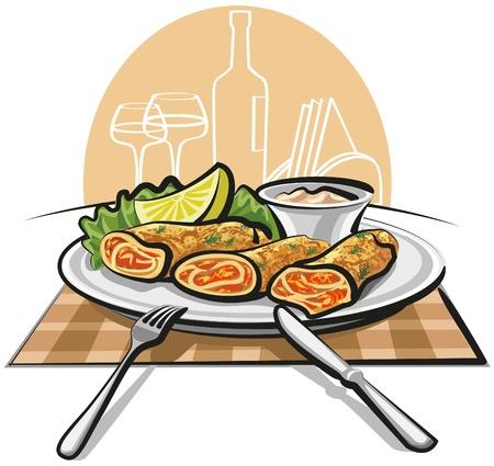 sauces: Pancakes with salmon