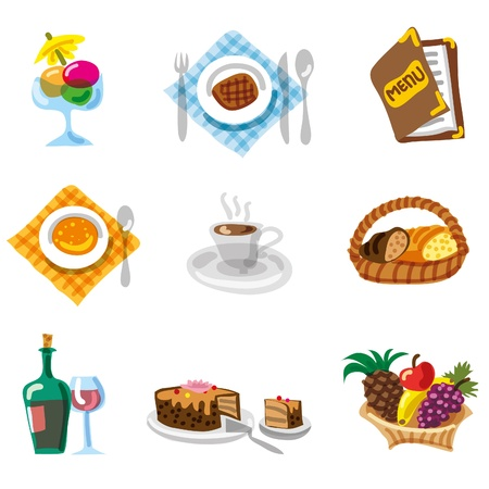 viande couteau: Jeu d'ic�nes de menu restaurant Illustration
