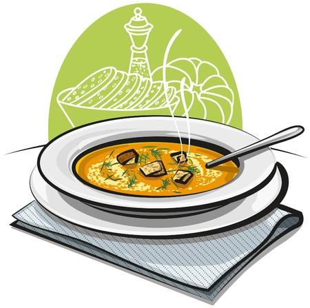 soup spoon: pompoensoep met croutons