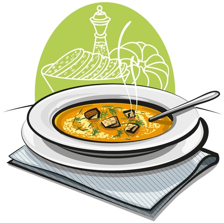 hot plate: Sopa de calabaza con picatostes Vectores