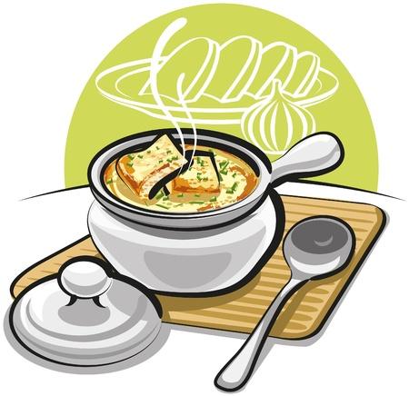 soup spoon: Franse uiensoep met croutons en kaas Stock Illustratie
