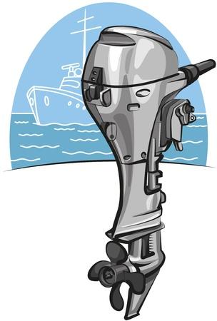 outboard: Outboard boat motor Illustration