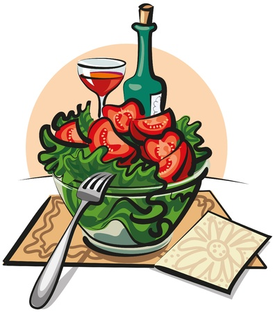 fresh vegetable: fresh vegetable salad and wine