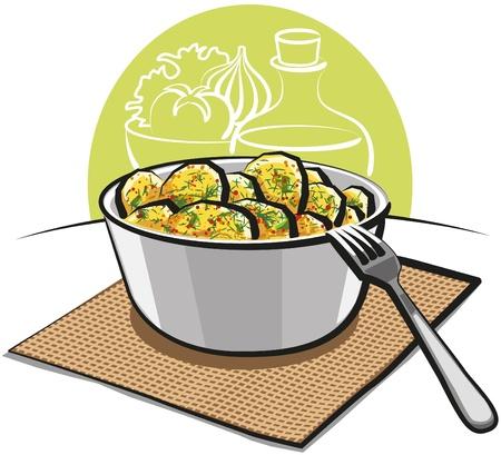 prepared potato: Potato salad with parsley and dill Illustration