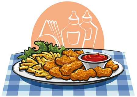 Chicken Nuggets: nuggets de pollo y papas fritas franc�s Vectores