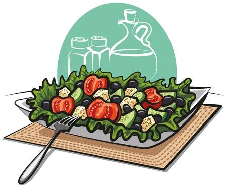 appetizers: fresh greek vegetable salad Illustration