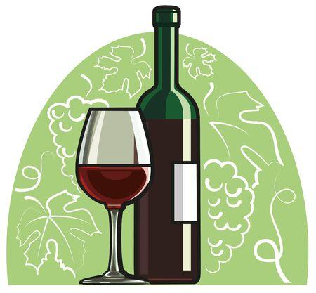 botella de licor: vino tinto Vectores