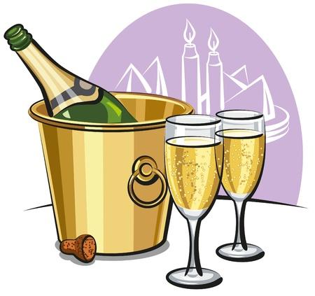 botella champagne: Champán