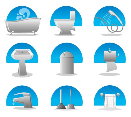 bathroom and toilet web icon set Stock Vector - 12161690