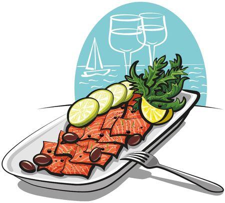 carpaccio: salmon carpaccio Illustration