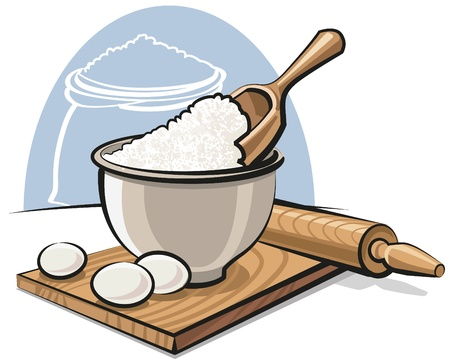 commercial kitchen: Flour in bowl with eggs