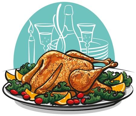 garnished: Garnished roasted turkey  Illustration