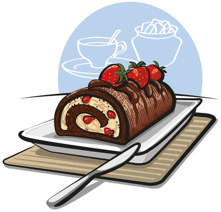 gateau: Chocolate roll cake with strawberries