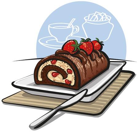 gateau: Torta al cioccolato rotolo con le fragole Vettoriali