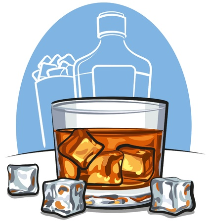Glass of scotch whiskey and ice cubes Stock Vector - 12493184