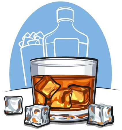 scotch: Szkło szkockiej whisky i kostkami lodu