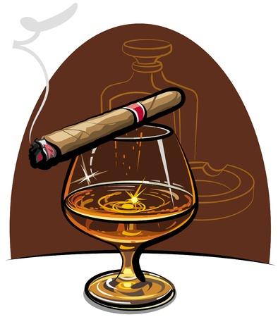 Coñac y cigarro Ilustración de vector
