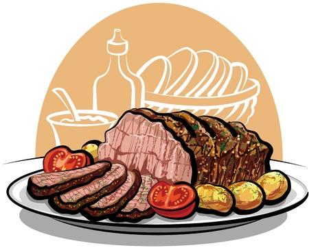 beef steak: Asado de ternera con patatas