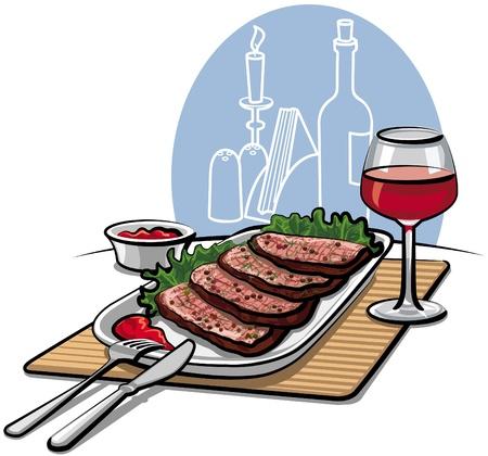 steak plate: Asado de carne y el vino