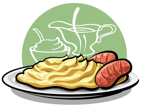 mashed potatoes with grilled sausages  Vector