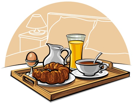 Tray with breakfast on a bed in a hotel room Vector