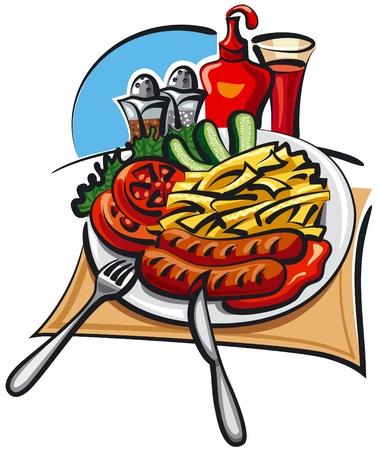 chorizos asados: salchichas a la parrilla y salsa de tomate