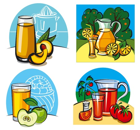 fresh juices with fruits Vector