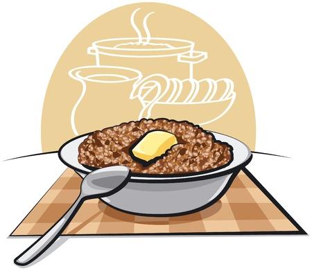 Boiled buckwheat porridge Ilustração
