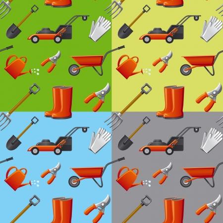 garden tools seamless pattern Illustration