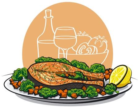 salmon steak: Baked salmon steak