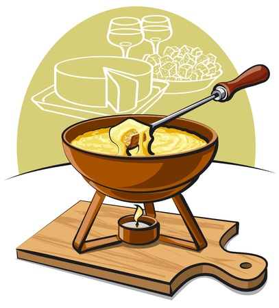 wine and cheese: cheese fondue Illustration