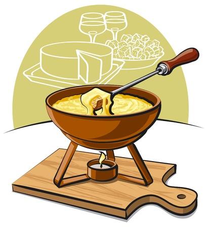cheese bread: cheese fondue Illustration