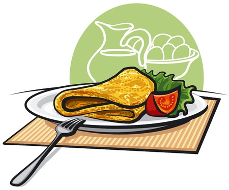 omelet with tomato Stock Vector - 14072609