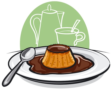 vanilla pudding: caramel pudding flan pie Illustration