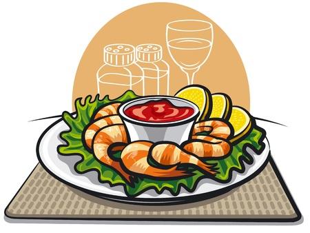 seafood dinner: shrimp cocktail  Illustration