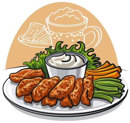 alitas de pollo: alas de pollo fritas Vectores