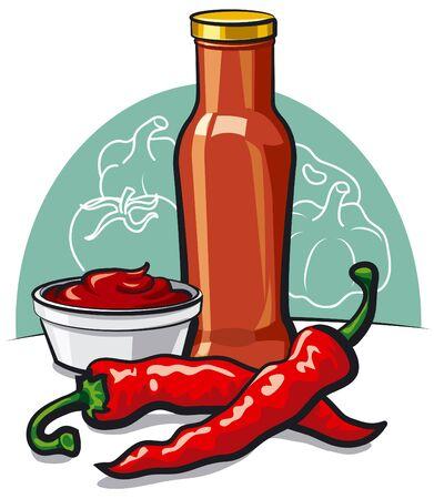 condimentos: salsa de tomate fr�o Vectores