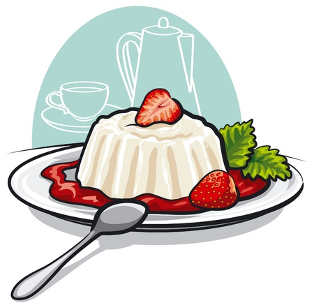vanilla pudding: Dessert with cream and strawberries Illustration