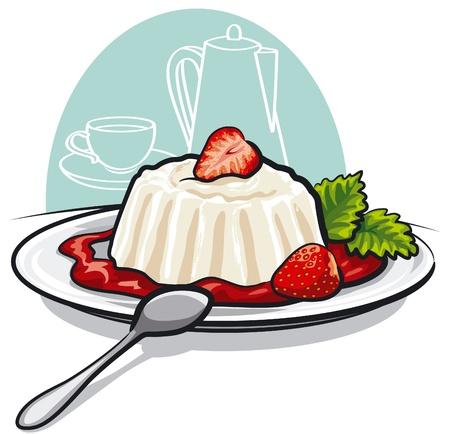 postre: Postre con crema y fresas