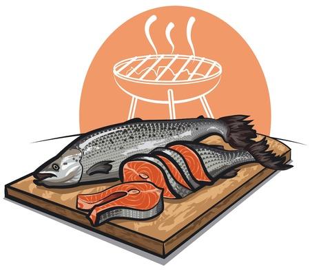 fresh salmon on a cutting board  Vector
