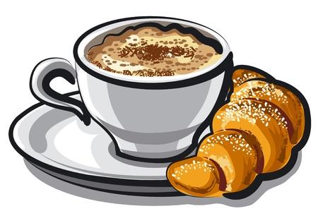 capuchino: Cappuccino con croissant Vectores