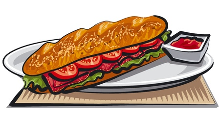 sandwiches: sandwich  french baguette with tomatoes and meat   Illustration