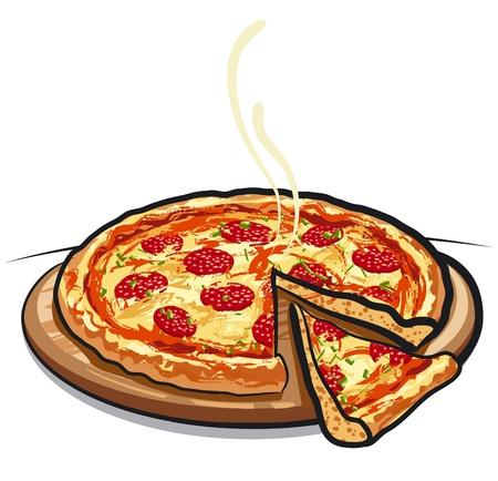 mozzarelle e formaggi: pizza con salame Vettoriali