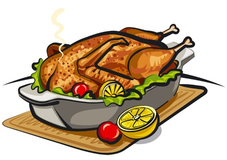 chicken dish: roast goose Illustration