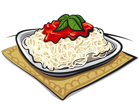 Spaghetti with tomato sauce Illustration